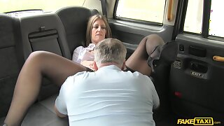 Pretty MILF Tasha Hoiz gets done well-disposed with an increment of long in her hansom cab