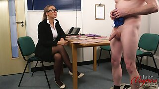 Amateur chap takes off his pants to tease cock hungry Beth Bennett