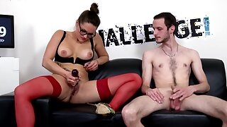 Aroused porn doll takes on amateur guy's tasty dong