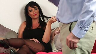 Hot brunette keeps her clothes on high anon dealing with older man's penis