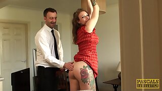 Curvy woman receives the rough tranquillizer in the matter of home BDSM anal tryout