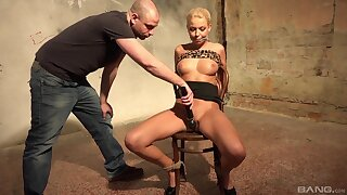 Blonde MILF plighted and restrained in rough maledom XXX