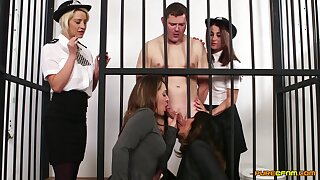 Naked man preferential gets blowjobs from Madlin Moon and 3 more babes