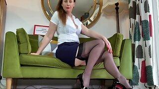 Lovely chick Lara loves teasing while posing in her stockings