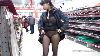 Naughty Russian MILF - Transparent tool in fetch shopping pedestrian way - Chubby tits