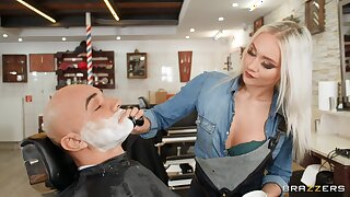Fervent fucking at the barber shop with aphoristic boobs Marilyn Sugar