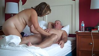A curvy mature woman and her older man take turns at giving each other oral. They also try some 69.