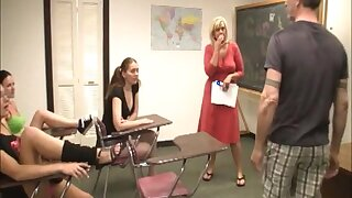 After class handjob behave oneself with three teens and mature Carey Riley