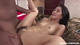 Surprising Asian brunette in sandals yon high heels, Saya Song had sex yon a horny, black guy