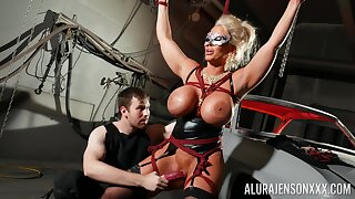 Bound blarney slut Alura Jenson is toyed with unconnected with a stranger in a dungeon