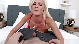 Hot Blonde MILF In Red-hot Underwear and Stockings Teases and Fucks Hubby