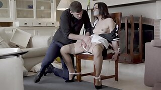Hot maid Valentina Bianco tied all over a chair and fucked good